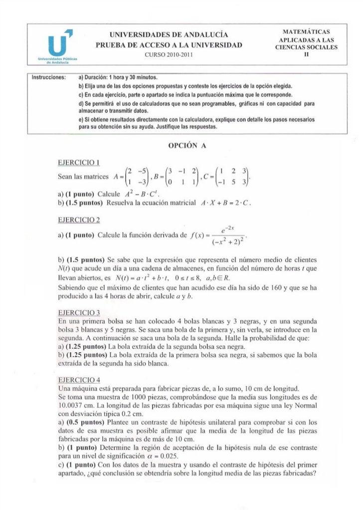 Examen Resuelto Selectividad Matematicas Ciencias Sociales Andalucia