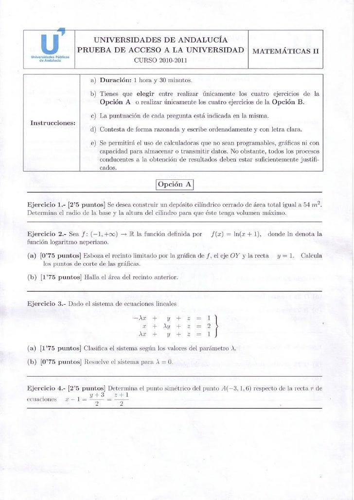 Examen resuelto selectividad matematicas ii andalucia for Examen para plazas docentes 2017