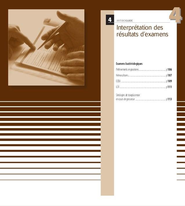 4 ANTIBIOGUIDE Interprétation des résultats d'examens Examensbactériologiques Prélèvementsrespiratoires......................
