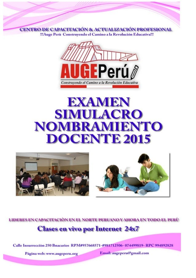 AUGE PERÙ CENTRO DE CAPACITACIÓN & ACTUALIZACIÓN PROFESIONAL Página Web: www.augeperu.org Email: augeperu@gmail.com RPM #9...