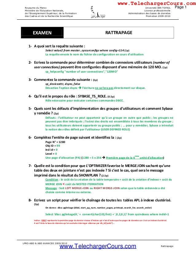 LPRO-ABD & ABD AVANCEE 2009/2010 Rattrapage Royaume du Maroc Ministère de l'Education Nationale, de l'Enseignement Supérie...