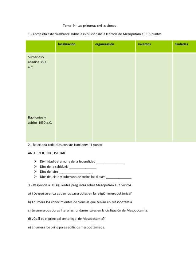 Tema 9.- Las primeras civilizaciones 1.- Completa este cuadrante sobre la evolución de la Historia de Mesopotamia. 1,5 pun...