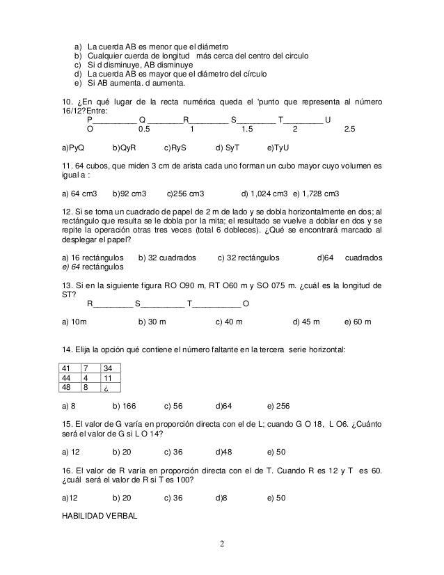 Examen tipo comipems 1