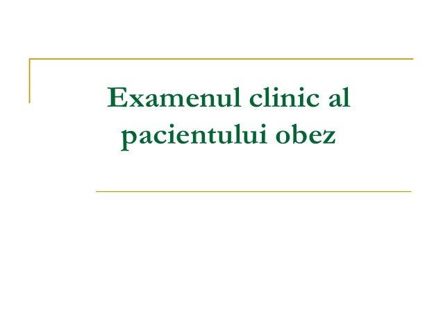 Examenul clinic al pacientului obez