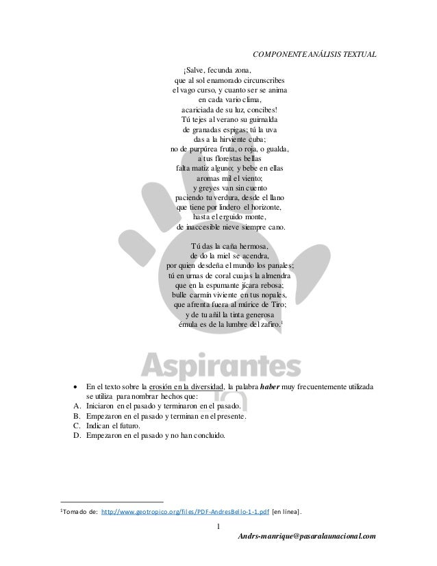 1 Andrs-manrique@pasaralaunacional.com COMPONENTE ANÁLISIS TEXTUAL ¡Salve, fecunda zona, que al sol enamorado circunscribe...