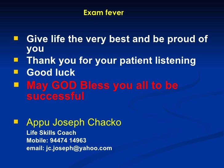 examination fever Examination fever by bhuwnesh agrawal tension tension tension that we cannt mention so much to study learn and write read recall and revize to make our future brite.