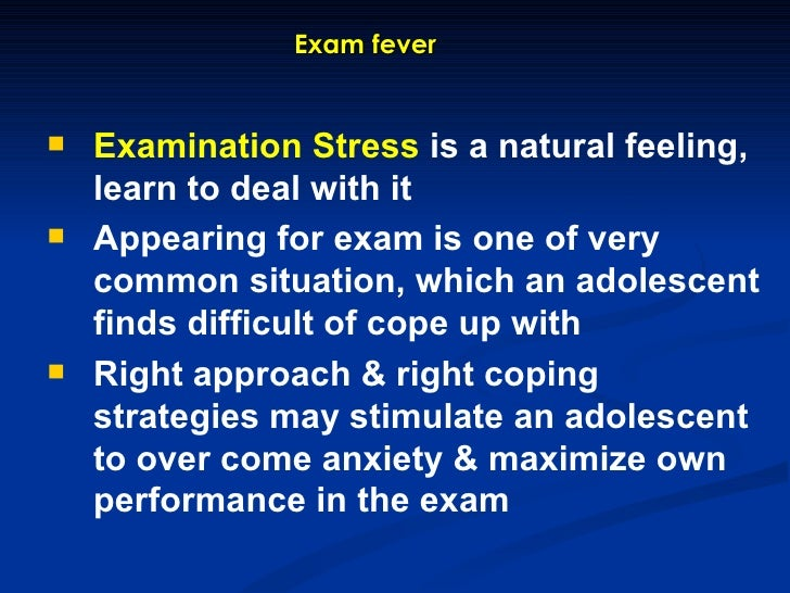 essay on stress of examination Students preparing for exams often feel under pressure the pressure may result in feelings of anxiety or nervousness, and this exam stress can interfere with the individual's daily life while a.
