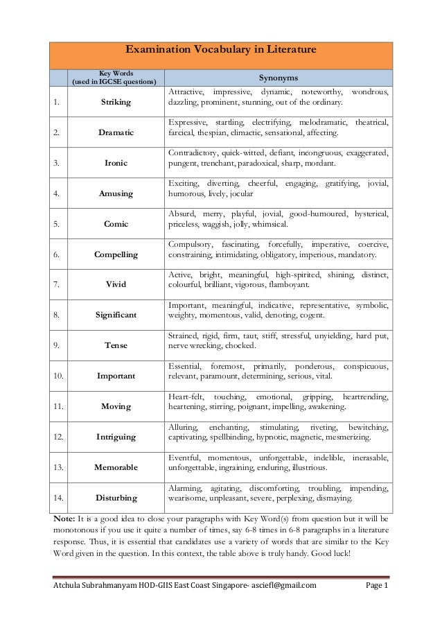 Atchula Subrahmanyam HOD-GIIS East Coast Singapore- asciefl@gmail.com Page 1 Examination Vocabulary in Literature Key Word...