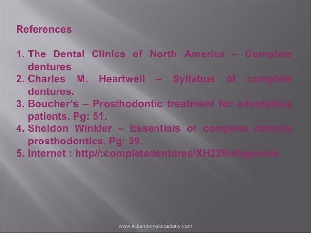 Examination and diagnosis of complete denture patients 59 fandeluxe