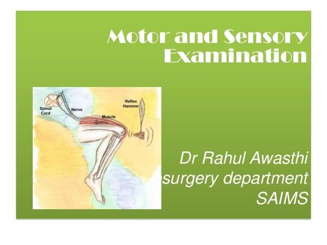 Motor and Sensory    Examination       Dr Rahul AwasthiNeurosurgery department                 SAIMS