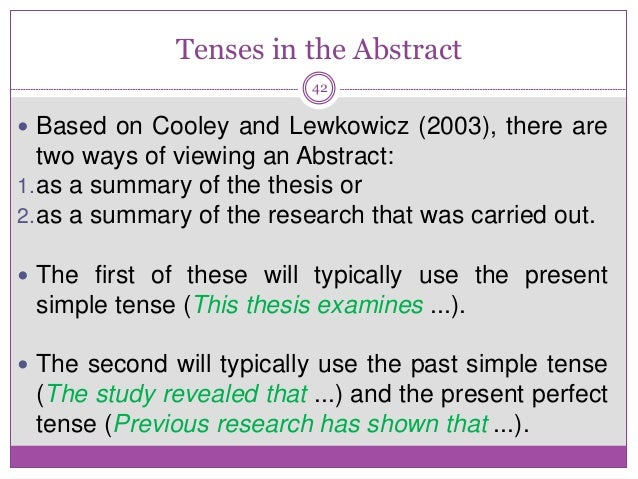 thesis abstract past tense