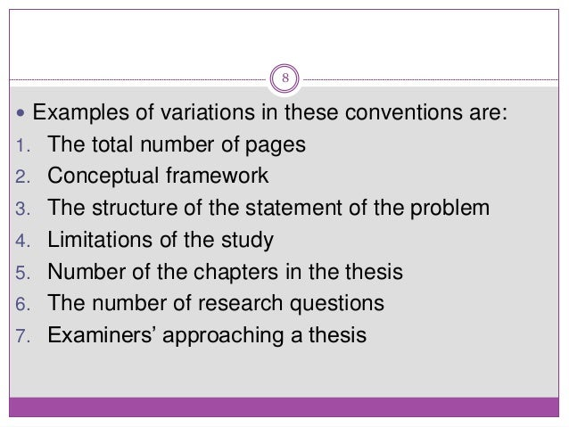 thesis examiners comments While each examiner searches for something particular inside a thesis and there's some subjectivity within the examination process, there are a variety of general criteria, based on the college and utilized by examiners within their evaluation of the thesis.