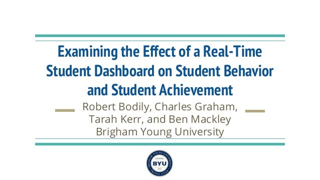 Examining the Effect of a Real-Time Student Dashboard on Student Behavior and Student Achievement Robert Bodily, Charles G...