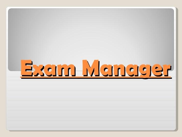 Exam Manager