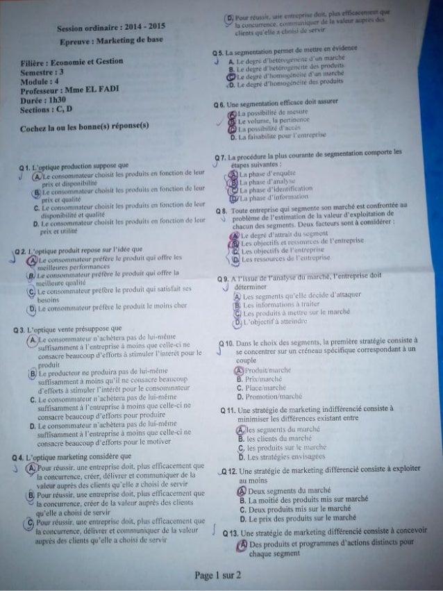 Exam marketing de base www.cours-economie.com