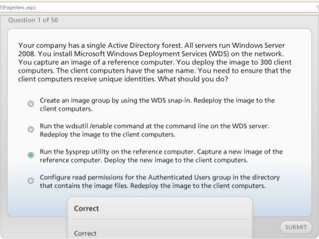 Exam of windows server 2008