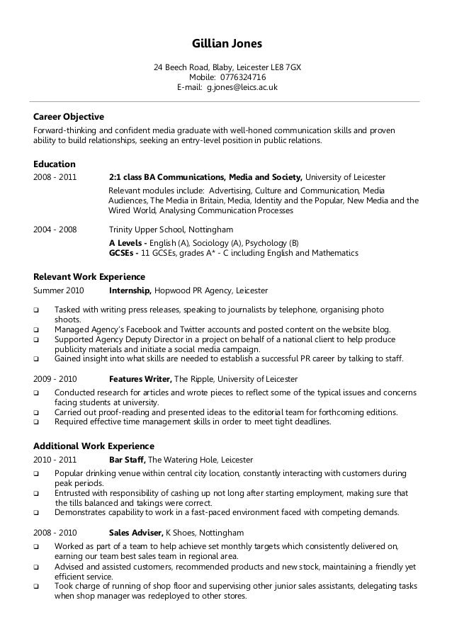 Example Chronological CV. Gillian Jones 24 Beech Road, Blaby, Leicester LE8  7GX Mobile: 0776324716 E  ...  Chronological Cv Samples