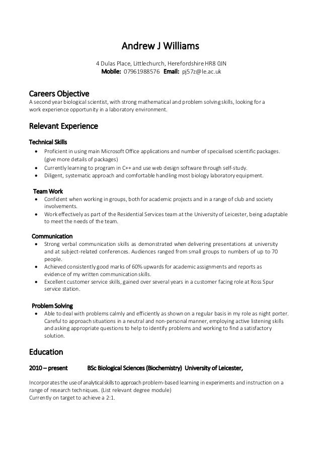 Example Skill Based CV. Andrew J Williams 4 Dulas Place, Littlechurch,  Herefordshire HR8 0JN Mobile: 07961988576 Email ...  Communication Skills Resume Examples