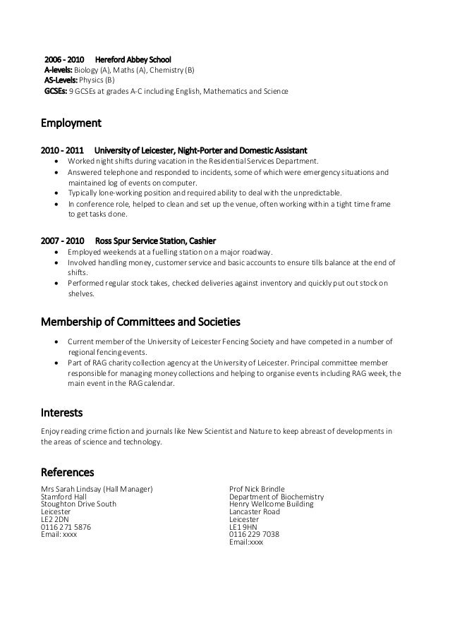 Skill And Abilities Cv Resume