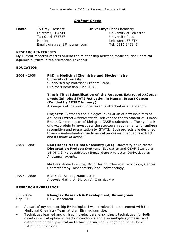 Example Academic CV For A Research Associate Post ...  Examples Of Academic Resumes