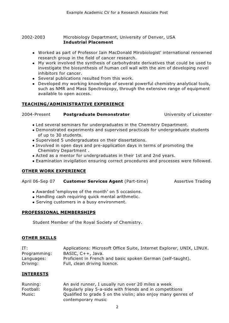 Example Academic CV ...  Academic Resume Examples