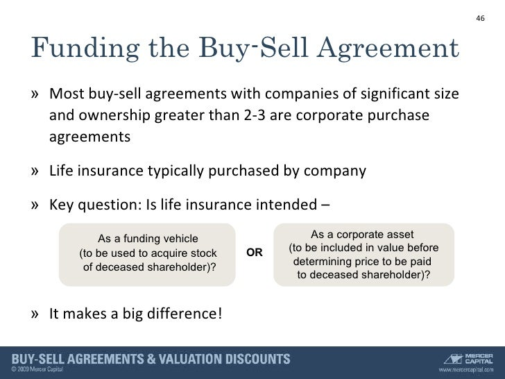 Buy sell agreements example slides buy sell agreement funded 46 platinumwayz