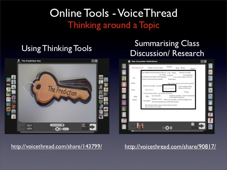Online Tools - VoiceThread                       Thinking around a Topic                                          Summaris...