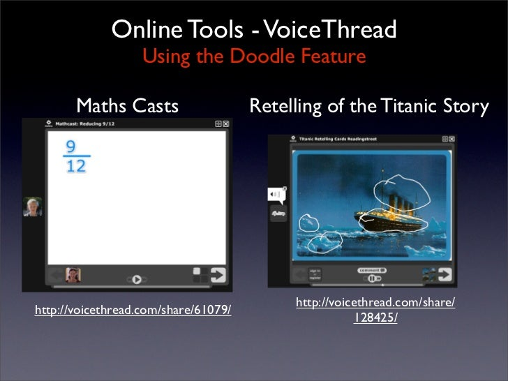 Online Tools - VoiceThread                    Using the Doodle Feature         Maths Casts                    Retelling of...
