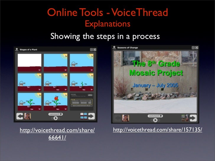 Online Tools - VoiceThread                     Explanations            Showing the steps in a process     http://voicethre...
