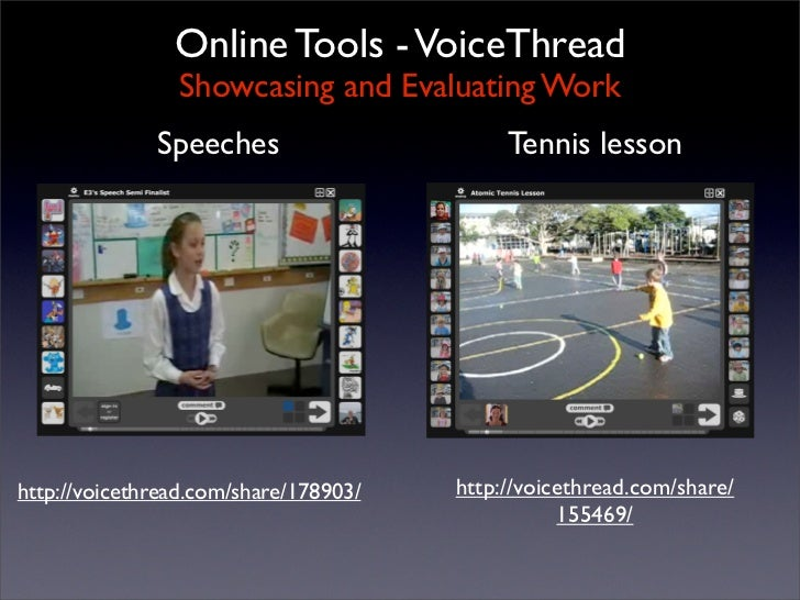 Online Tools - VoiceThread                 Showcasing and Evaluating Work               Speeches                      Tenn...