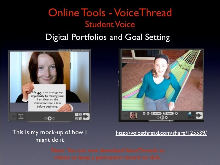 Online Tools - VoiceThread                         Student Voice              Digital Portfolios and Goal Setting         ...