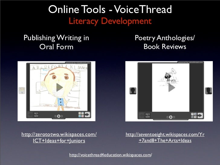Online Tools - VoiceThread                     Literacy Development Publishing Writing in                                 ...