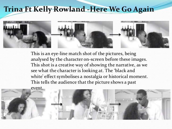 Trina Ft Kelly Rowland -Here We Go Again       This is an eye-line match shot of the pictures, being       analysed by the...