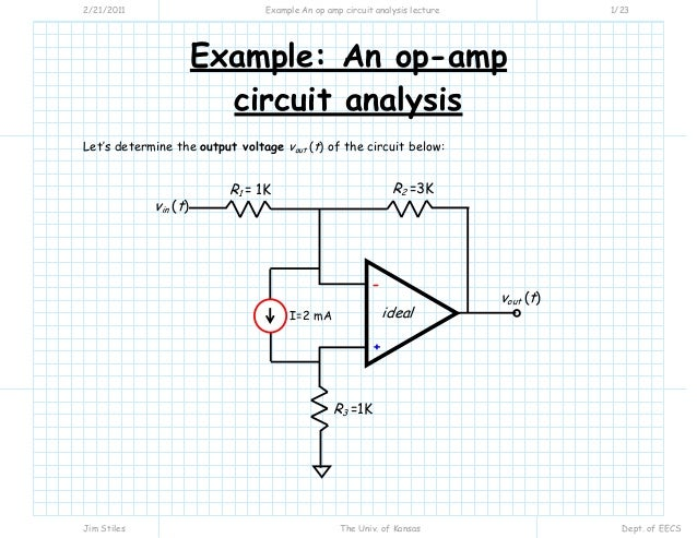 example an op amp circuit analysis lecture rh slideshare net solving op amp circuits with capacitors Op-Amp Circuits Examples