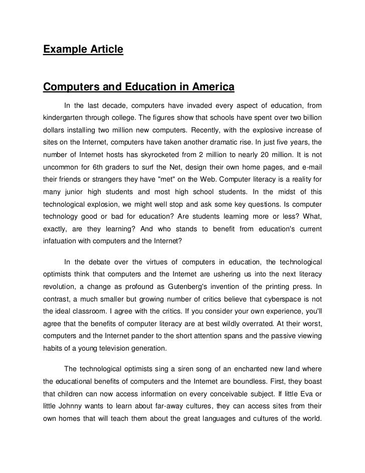 Example essay article