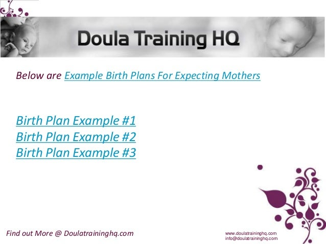 Example Birth Plans For Expecting Mothers