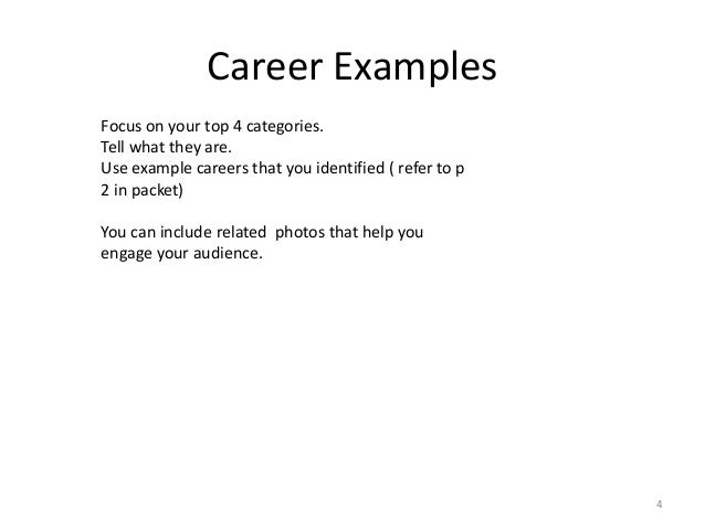 Good Career Examples ... To Career Examples