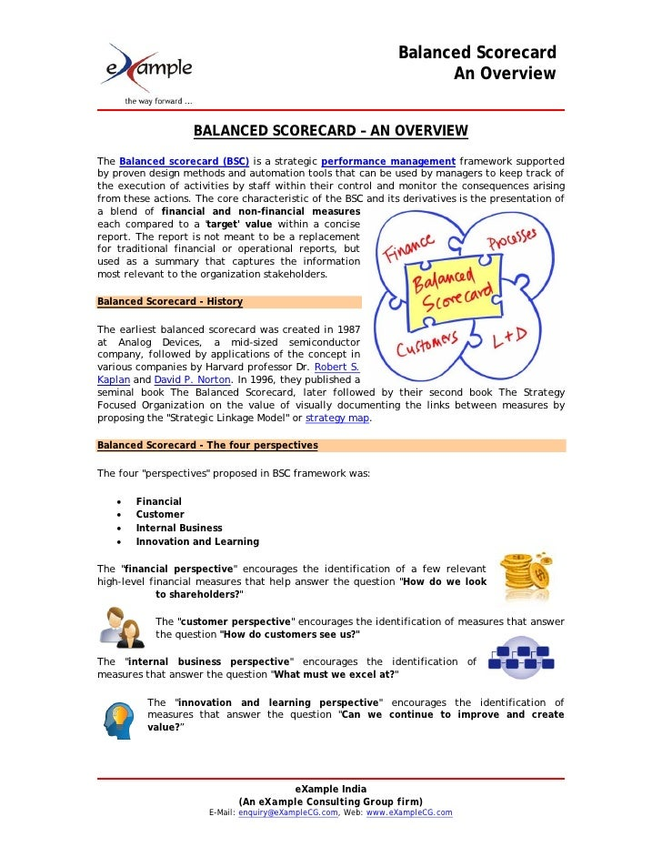 balanced scorecard executive summary Balanced scorecard and executive summary name insert institution introduction a balanced scorecard is a business analysis tool that provides various indicators for business development (chavan, 2009.