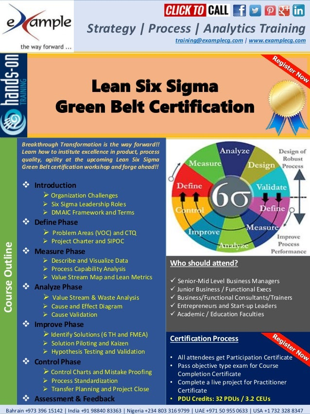 E Xamplecg Lean Six Sigma Green Belt Certification Course Brochure