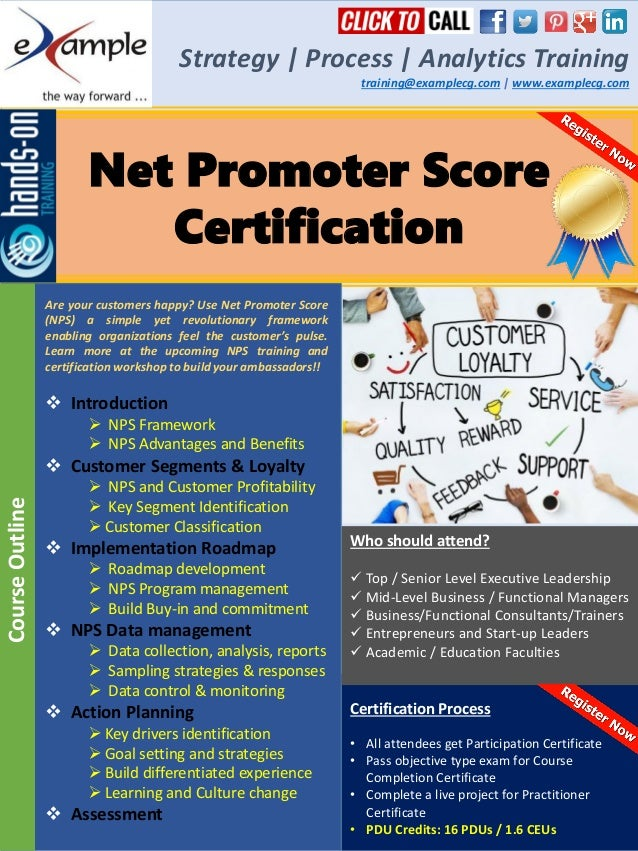 Examplecg Net Promoter Score Training And Certification Course Brochu
