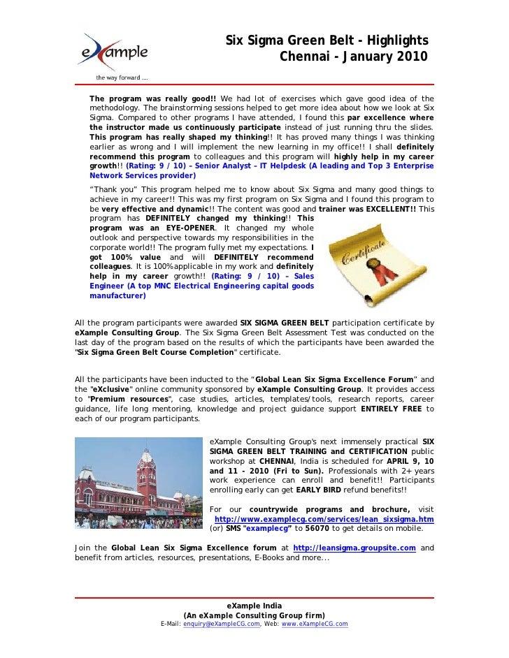 Examplecg Six Sigma Green Belt At Chennai Jan 2010 Highlights
