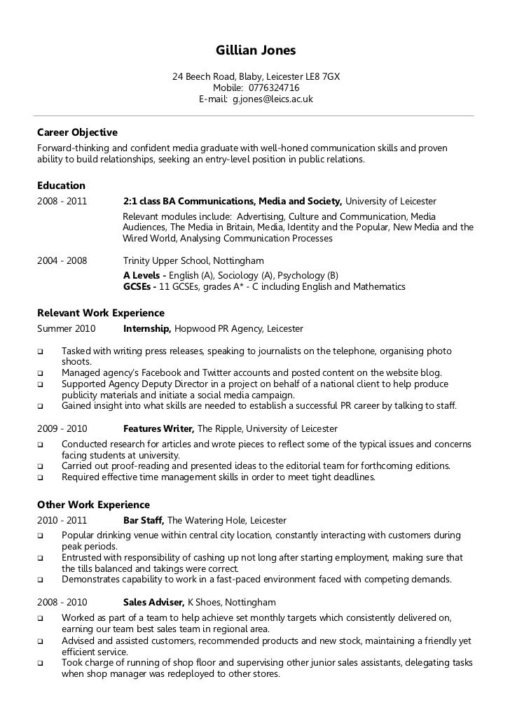 Example Chronological CV. Gillian Jones 24 Beech Road, ...  The Example Of Resume