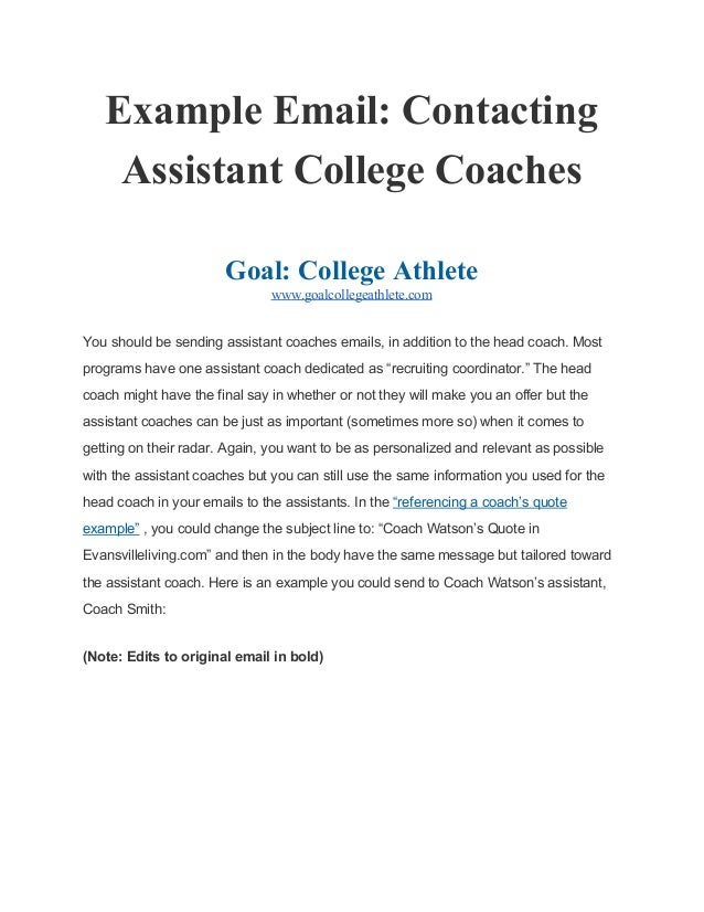 Example Email Contacting Assistant College Coaches