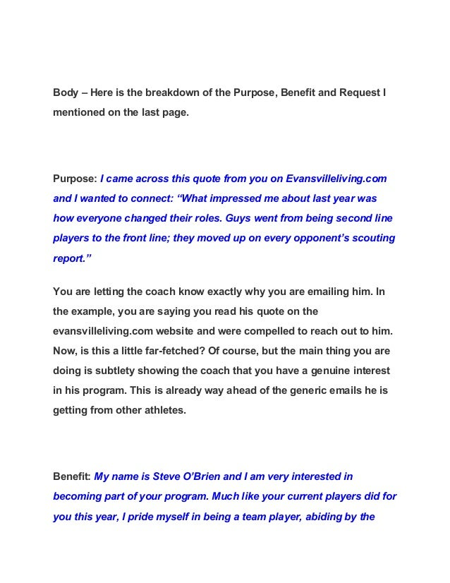 Example Emails for College Coaches: Reference a Quote from ...