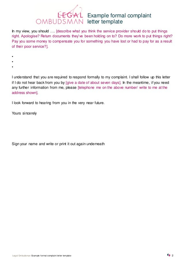 example formal complaint letter template 2 example formal complaint letter