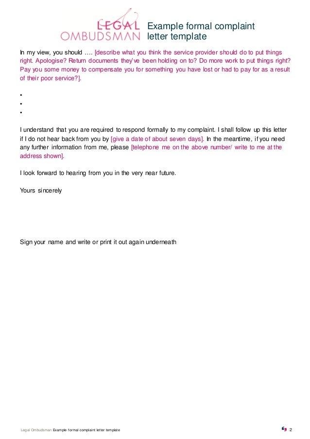 2. Example Formal Complaint Letter Template ...  Complaint Letters Template