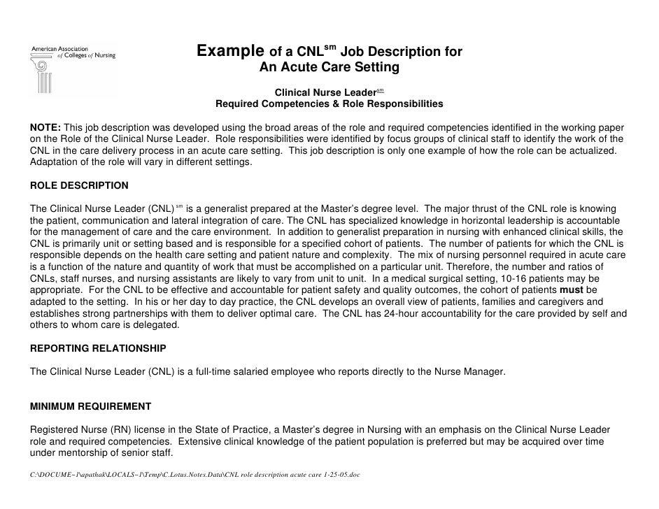 Example of a CNLsm Job Description for                                                                   An Acute Care Set...