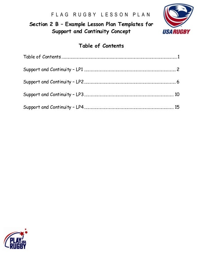 FLAG RUGBY LESSON PLAN    Section 2 B – Example Lesson Plan Templates for             Support and Continuity Concept      ...