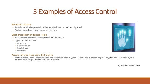 Example of access control