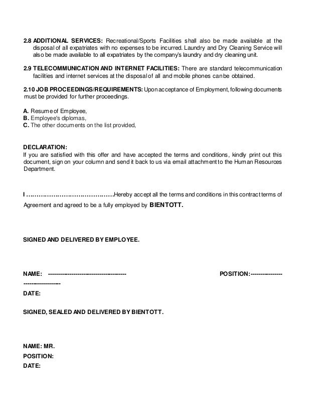 Standard Employment Agreement. Small Business Employee Offer Letter ...
